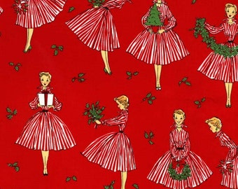 Christmas Fabric by the yard Michael Miller Holiday Hostess in Red 1 yard