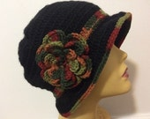 Black Chemo Cloche Hat With Brim And Flower