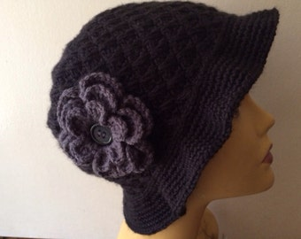 Black Cloche Hat With Charcoal flower