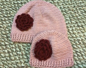 Mom and Daughter Beanie Hat With Flower