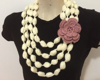 Bubble Stitch Loop Scarf Necklace, Crochet Loop Scarf, Usa Seller