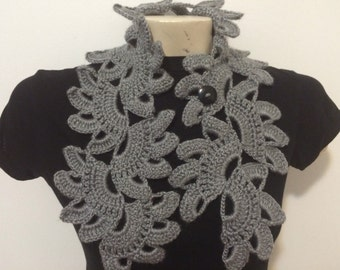 Gray Flower Collar Neck Scarf With Button, Usa Seller