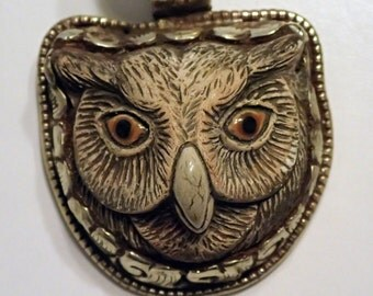 Owl Face in Silver Pendant  Nice