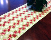 Table Runner  Red, Green, and White Contemporary Snowflake Design Holiday Table Runner - Holidays Home Decor Weddings Parties