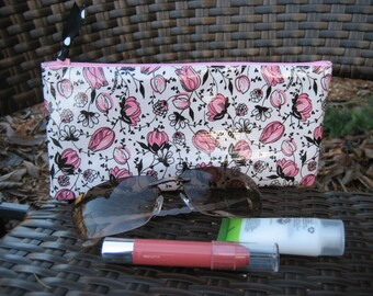 Zippered Oil Cloth Pouch-White with Pink and Black Flowers Cosmetic Bag--Purse Organizer--Pencil pouch
