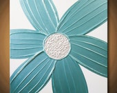 Turquoise Painting Blue Aqua Flower Pearlescent Acrylic Very Light Silver Pearl White 24x24 High Quality Original Modern Fine Art
