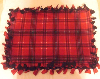 Fleece Tie Pet Blanket for Cats or Small Dogs - Red & Black Plaid