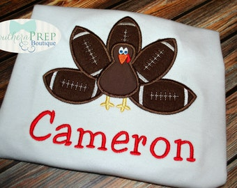 Football Turkey Applique - Boys Thanksgiving shirt - Turkey Applique