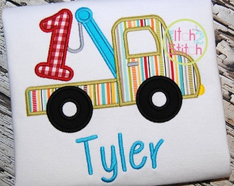 Tow Truck Birthday Shirt - 1st Birthday - ONE Birthday Shirt - Boys Applique Designs