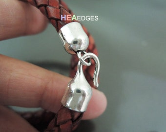 Finding - 2 Sets Antique Silver End Cap S Hook Toggle Clasp Clousure Fastener Buckle for Round Leather Cord ( Inside 5.5mm Diameter )