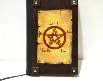 Gothic victorian, wiccan pagan, book of shadows, quote book, customized journal, pentagram pentacle, religious symbol, halloween journal