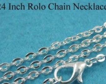 "25 Pack-  24"" Rolo with Lobster Claw Clasp - Necklace - Pendant - Silver Colored - Chain - Oh Snap - Gifts for her- boho- bridesmaid"