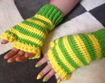 Lemon-Lime Simple Fingerless Gloves