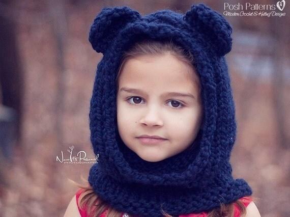 Easy Hooded Scarf Knitting Pattern : Knitting Patterns Knit Bear Cowl Pattern Bear Hood