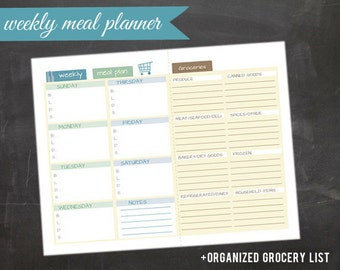 Weekly Meal Planning Printable with Grocery List PDF 8.5x11