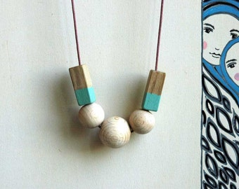 Simple beaded necklace,wooden necklace,minimalist necklace,made to order