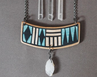Hand painted wood necklace with raw citrine,blue ,black and white geometric necklace