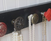 Necklace Holder / Wall Mounted Jewelry Organizer / Red and Brass