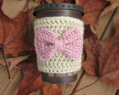 Coffee Cozy // Crochet Cup Cozy with Bow