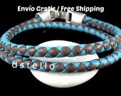 Braided bracelet, Men's jewelry, Leather bracelet, Double wrap, Women's accessories, First quality spanish leather, Silver color clasp