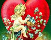 To My Valentine Forget Me Not Antique Postcard Digital Image Download No. 3509
