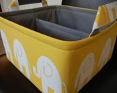 """LG Diaper Caddy(choose COLORS) 10""""x10""""x6""""- One Divider -Baby Gift-Fabric Storage Organizer-Elephant-""""Yellow Ele"""""""