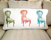 "shabby chic, feed sack, french country, vintage chair graphic with french ticking welting 14"" x 28"" lumbar pillow sham."