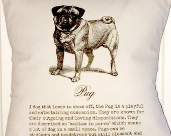 """shabby chic, feed sack, pug graphic with text 14"""" x 14"""" pillow sham."""