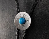 Wincheser Shotgun Bolo Tie with Sleeping Beauty Turquoise and sterling silver ball tips