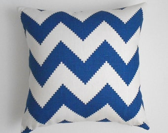 SALE Marine Blue chevron decorative throw pillow, Jonathan Adler fabric