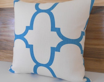 SALE Turquoise quatrefoil designer pillow cover, Windsor Smith for Kravet
