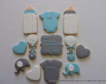 Godmother or Godfather Hand decorated sugar cookie set (#2323)