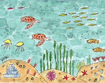 Original watercolor painting Handpainted underwater art illustration Cute nautical nursery wall decor