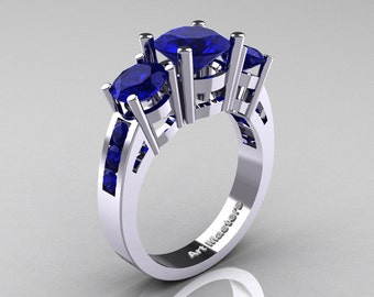 Modern 14K White Gold Three Stone Blue Sapphire Wedding Ring R94-14KWGBS