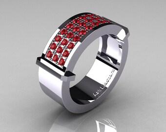Gentlemens Modern 14K White Gold 33 Stone Rubies Ring MR184-14KWGR