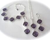 Amethyst jewelry set ~ 3 piece ~ Necklace,Bracelet,Earring set ~ Sterling silver - Bridesmaids jewelry set - Purple ~ Wedding jewelry ~ Gift