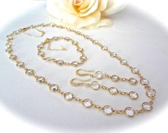 Gold crystal jewelry set ~ Swarovski Channel jewelry set ~ 3 piece ~ Necklace,Earrings,Bracelet ~ Brides jewelry set ~Sparkles like Diamonds