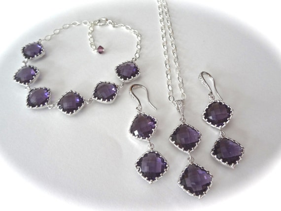 Amethyst jewelry set ~ 3 piece ~ Necklace,Bracelet,Earring set ~ Sterling silver - Bridesmaids jewelry set - Purple ~ Wedding jewelry ~ Gift