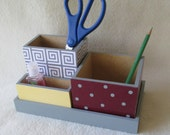 Office or Home Organizer - Pencil Holder Set - Personalized Desk Organizer - Desk Set - Gray - Maroon - Yellow - Decoupaged - Gift