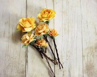 Happy Spring Hair Pins, Yellow Flower Hair Pins. Whimsical. Bridesmaids. easter, Rustic Wedding. Woodland. Hair Accessories. Spring