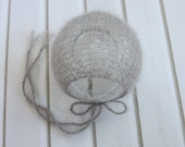 Newborn Grey Silver Lace Knit Classic Mohair Bonnet - Ready to Ship Photography Prop, RTS Photo Prop