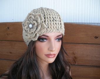 Beige Tweed Crochet Hat Winter Fashion Accessories Womens Hat Beanie Cloche Winter Hat with crochet flower.