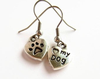 Love My Dog Earrings - Mismatched Earrings - Paw Print Earrings - Dog Paw Jewelry - Heart Earrings - Dog Lover Gift - Hypoallergenic