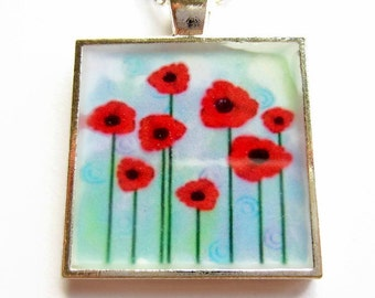 Poppy Necklace, Resin Necklace, Poppies Pendant, Resin Jewellery, Flower Necklace, Gift for Her, Mothers Day