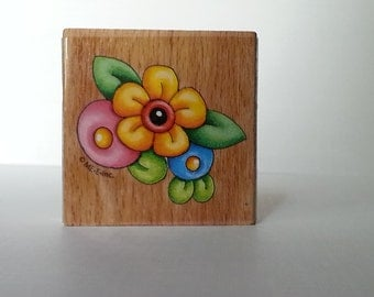 Flowers Wooden Mounted Rubber Stamping Block DIY cards, scrapbooking, tags, Greeting Cards, and Scrapbooking