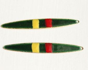 Green Enamel Long Charms (2x)