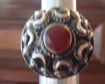 Vintage Afghani Tribal Kuchi Cresent Moon Carnelian Domed Ring sz 8.5 to 9