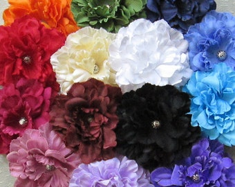 Simple Peony Hair Flower Clip & Pin - 14 Color Choices!