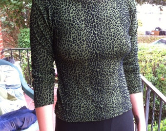 Green Leopard Velvet Shirt Top Burn Out Leopard Green and Black Print Stretch Top Sexy Hot Rockin Yum Vintage