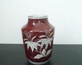 Spechtsbrunn Vase - GDR - 1970ies - Porcelain - Bordeaux, Silver - Flower Ornaments